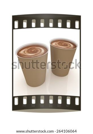 Hot drink in fast-food cap. The film strip - stock photo