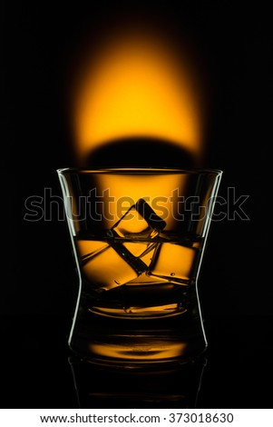 hot drink shots in bar on color abstract background - stock photo