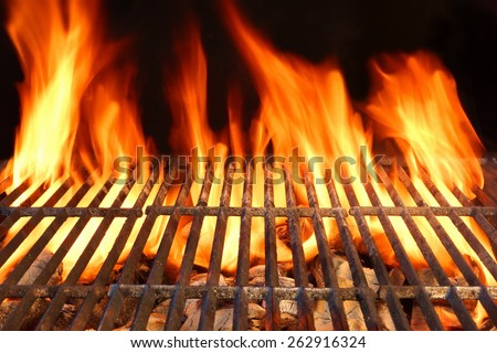 Hot Empty Barbecue Charcoal Grill Ready To Prepare Food With Flames Of  Fire On Black Background. Summer Party or Picnic Outdoor Cookout Scene - stock photo