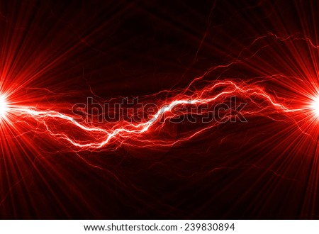 Hot fiery lightning, burning electrical background - stock photo