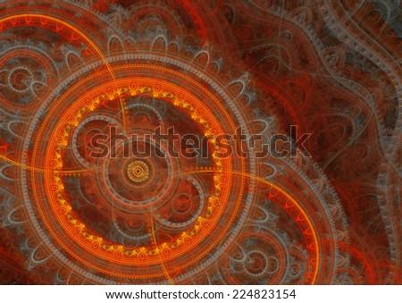 Hot fiery mechanical steampunk design - stock photo