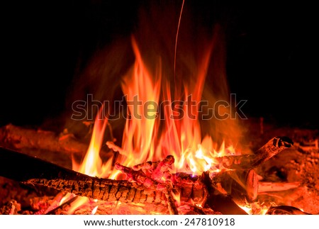 hot fire in darkness on fireplace - stock photo