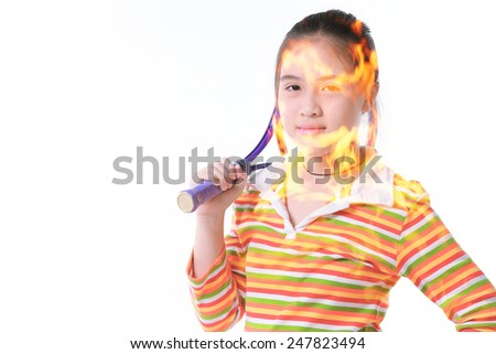 Hot fire Little girl playing tennis on white background - stock photo
