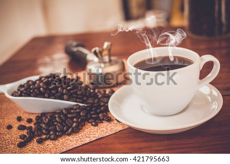 hot fresh coffee on the desk