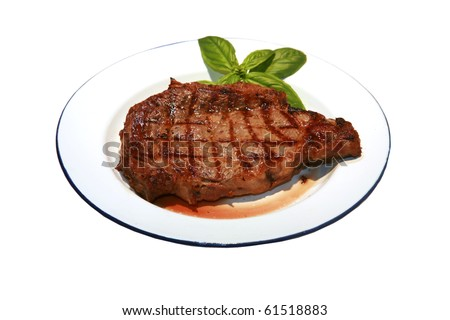 hot fresh grilled boneless rib eye steak isolated on white with barbecue grill marks in the meat - stock photo