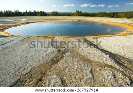 Hot geothermal springs, Yellowstone, Wyoming, USA - stock photo