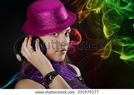 Hot girl with pink hat and setphones, disco style