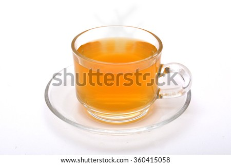 Hot Green Tea Cup with white background