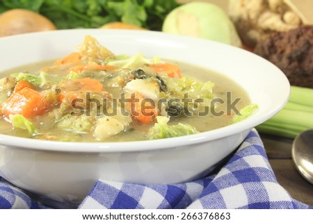 hot hearty cabbage stew with vegetables