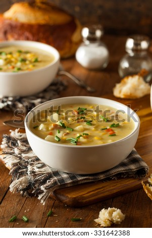 Hot Homemade Corn Chowder in a Bowl - stock photo