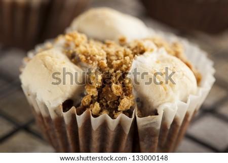 Hot Homemade Smore Cupcakes with Marshmallows - stock photo