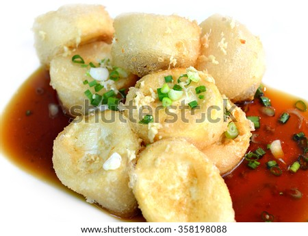 hot japanese tofu fired serve with soya - stock photo