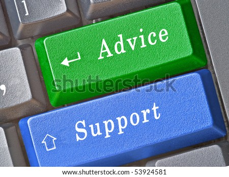 Hot keys for advice and support - stock photo