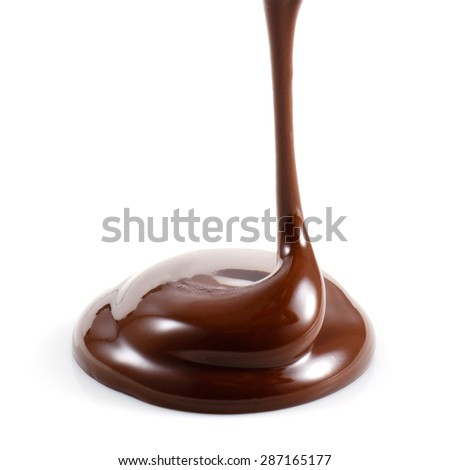 Hot melted chocolate isolated on white background