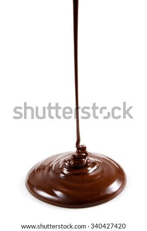 Hot melted chocolate isolated on white background - stock photo
