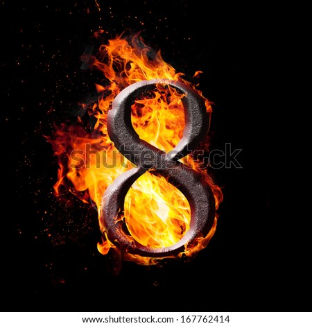 Hot metal burning numbers on black background - number eight - stock photo