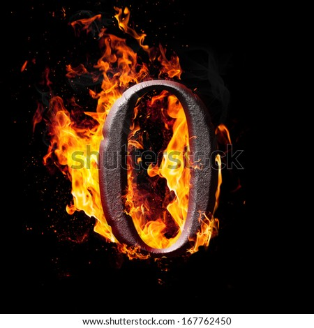 Hot metal burning numbers on black background - zero - stock photo