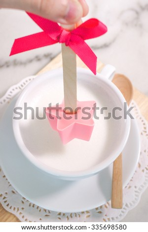 Hot Milk and Handmade Strawberry Star Stick, Sweet and Romantic Concept, Valentine - stock photo