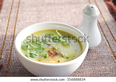 Hot mix of soup meal in breakfast