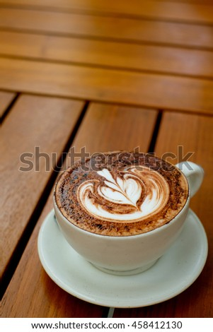 Hot Mocha with Latte Art - stock photo