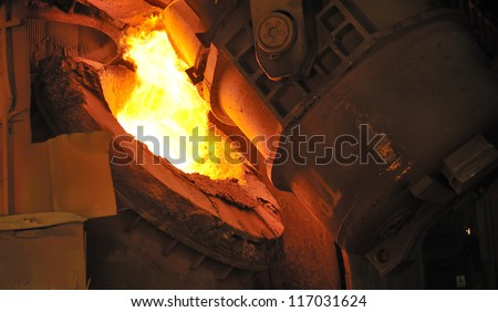 hot molten steel - stock photo