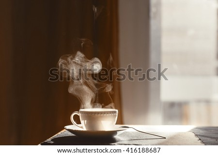 Hot morning coffee with stream