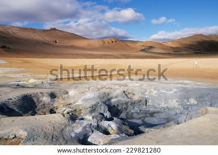 Hot Mud Pots and great landscape in the Geothermal Area Hverir, Iceland. - stock photo