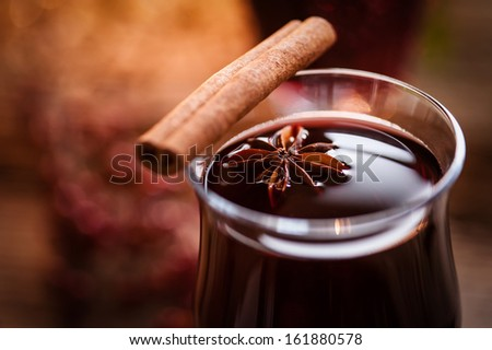 hot mulled wine - stock photo