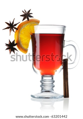Hot mulled wine isolated on white with reflection - stock photo