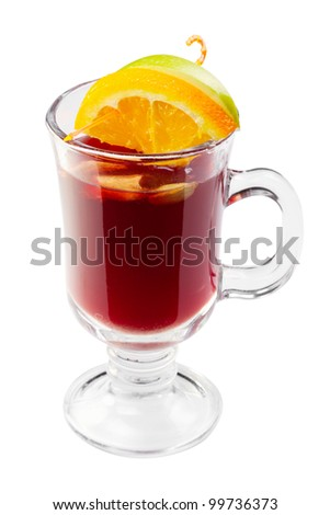 hot mulled wine, punch, with slice of orange and apple in glass isolated