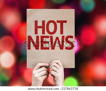 Hot News card with colorful background with defocused lights - stock photo