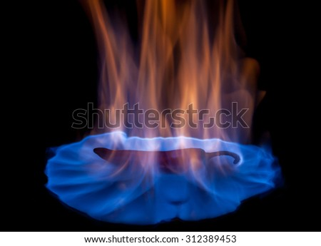 Hot pepper burning in blue flames