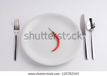 Hot pepper on white china plate
