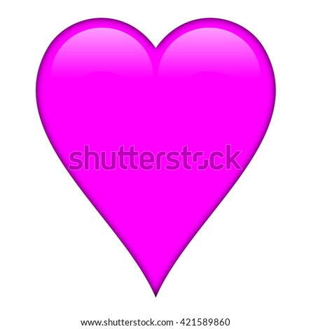Hot pink heart, isolated over a white background. - stock photo