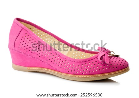 Hot pink women shoe isolated on white background. - stock photo