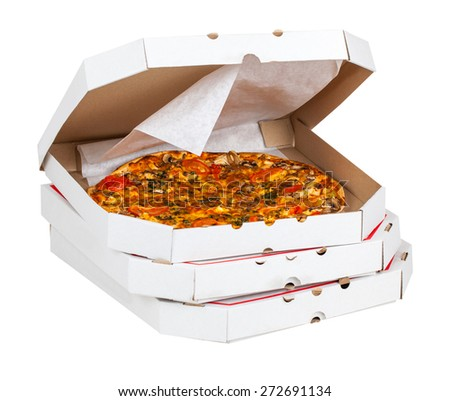hot pizza in open box isolated on a white background - stock photo