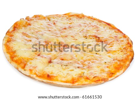 hot pizza on white background - stock photo