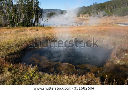 Hot pool at Terrace Springs in Yellowstone National Park Wyoming. - stock photo