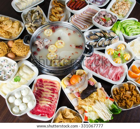 Hot pot stock images royalty free images vectors for Asian cuisine ingredients