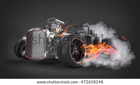 Hot Rod with Smoke and Flames 3D Rendering