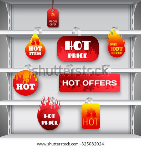 Hot sale clearance discount prices red  wobblers on empty department store display racks advertisement realistic  illustration - stock photo