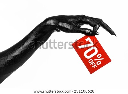 Hot sale topic: black hand holding a red card with 70% discount on white background