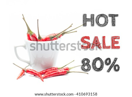 Hot Sale 80% words written on white background with cup of chillies - stock photo