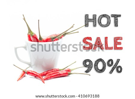 Hot Sale 90% words written on white background with cup of chillies - stock photo