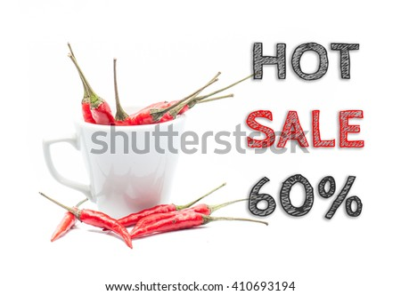 Hot Sale 60% words written on white background with cup of chillies - stock photo