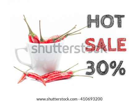 Hot Sale 30% words written on white background with cup of chillies - stock photo