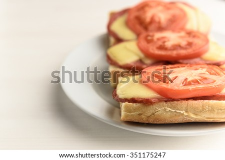 hot sandwiches with melted cheese sausage, salami and tomatoes