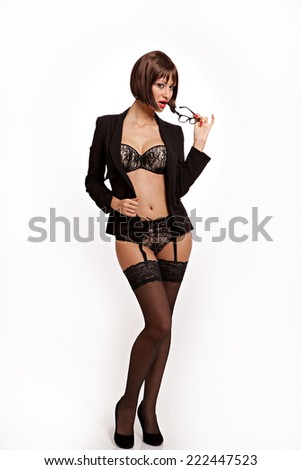 Hot secretary with sexy black lingerie and suit jacket.