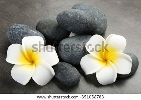 Hot spa stones with flowers on grey background, close-up