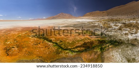 hot spring and salt lake on altiplano, Bolivia - stock photo